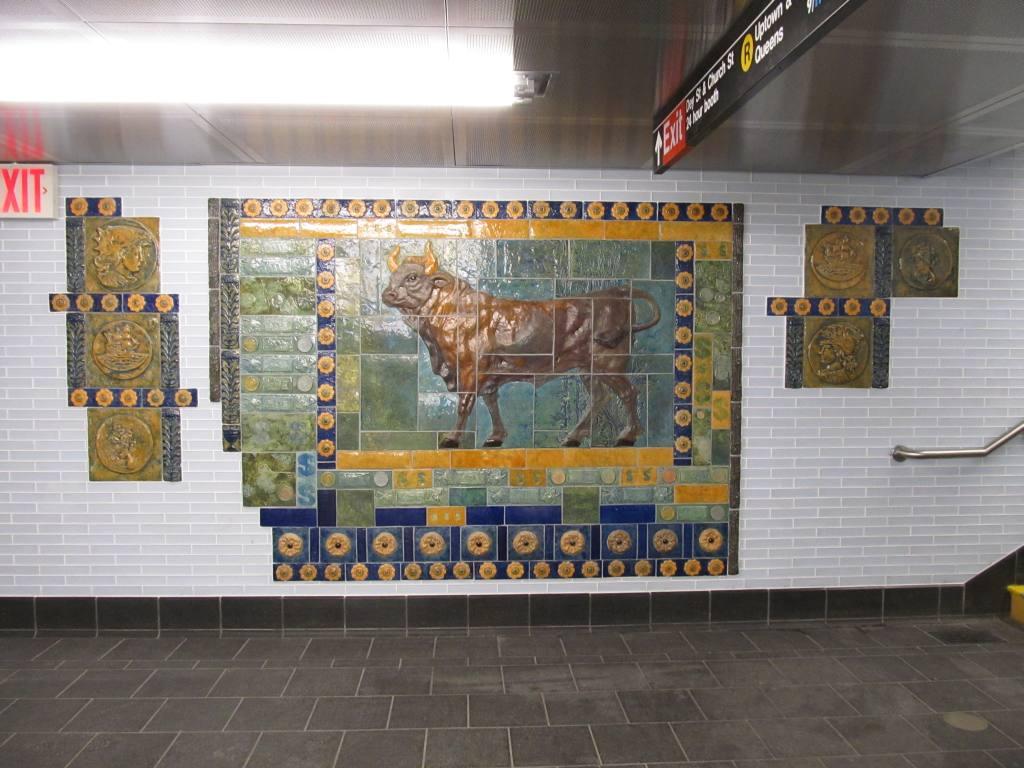 (120k, 1024x768)<br><b>Country:</b> United States<br><b>City:</b> New York<br><b>System:</b> New York City Transit<br><b>Line:</b> BMT Broadway Line<br><b>Location:</b> Cortlandt Street-World Trade Center <br><b>Photo by:</b> Robbie Rosenfeld<br><b>Date:</b> 9/12/2011<br><b>Artwork:</b> <i>Trade, Treasure, and Travel</i>, Margie Hughto (1997).<br><b>Notes:</b> New locations of artwork after station reconstruction.<br><b>Viewed (this week/total):</b> 2 / 1003