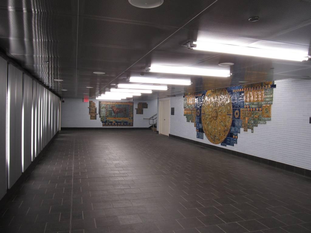 (89k, 1024x768)<br><b>Country:</b> United States<br><b>City:</b> New York<br><b>System:</b> New York City Transit<br><b>Line:</b> BMT Broadway Line<br><b>Location:</b> Cortlandt Street-World Trade Center <br><b>Photo by:</b> Robbie Rosenfeld<br><b>Date:</b> 9/12/2011<br><b>Artwork:</b> <i>Trade, Treasure, and Travel</i>, Margie Hughto (1997).<br><b>Notes:</b> New locations of artwork after station reconstruction.<br><b>Viewed (this week/total):</b> 1 / 1040