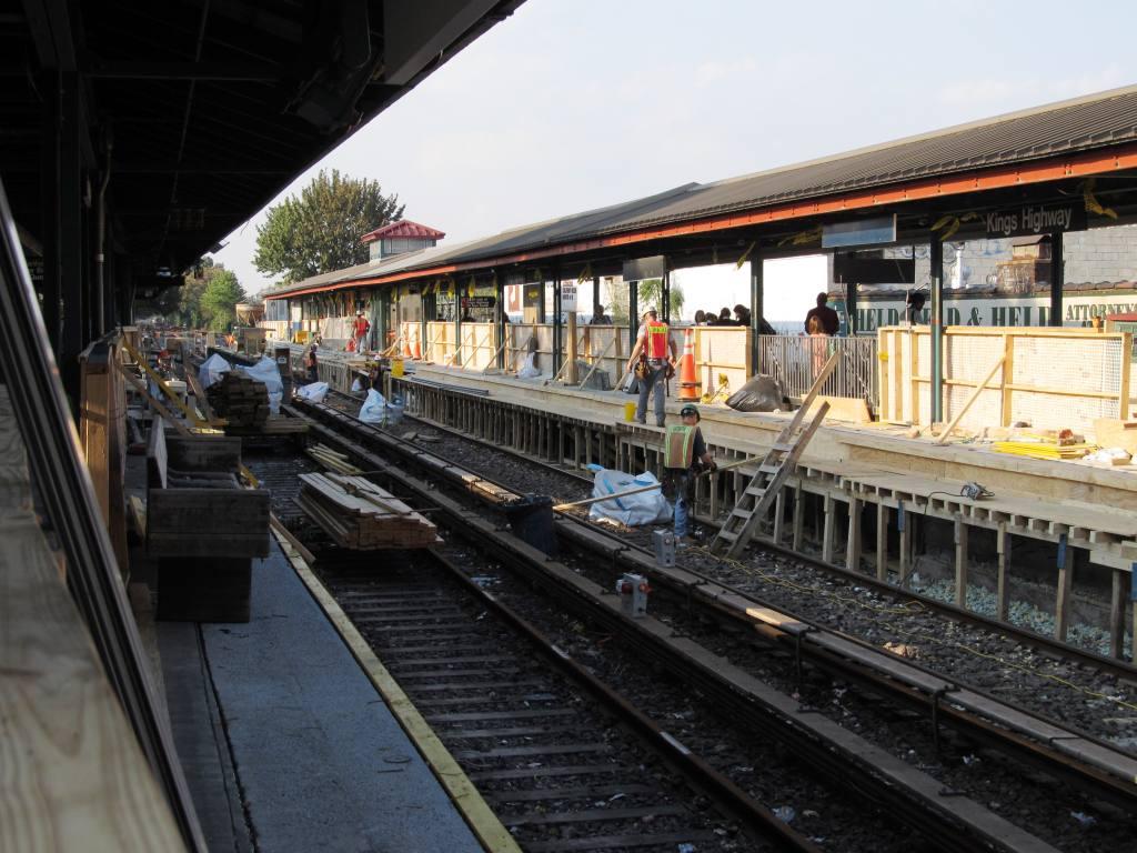 (130k, 1024x768)<br><b>Country:</b> United States<br><b>City:</b> New York<br><b>System:</b> New York City Transit<br><b>Line:</b> BMT Brighton Line<br><b>Location:</b> Kings Highway <br><b>Photo by:</b> Robbie Rosenfeld<br><b>Date:</b> 9/13/2011<br><b>Notes:</b> Station renovation<br><b>Viewed (this week/total):</b> 0 / 1003