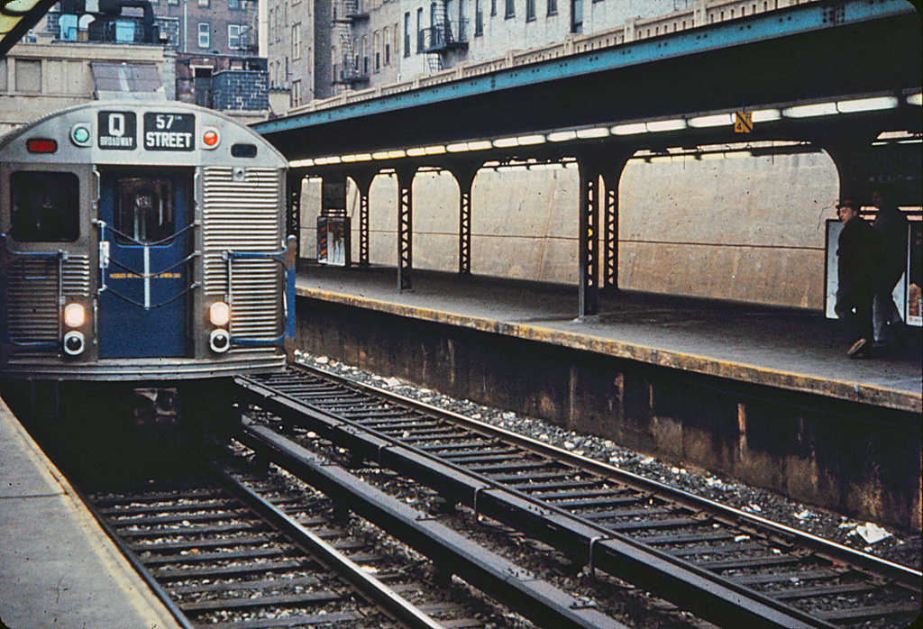 (459k, 1024x698)<br><b>Country:</b> United States<br><b>City:</b> New York<br><b>System:</b> New York City Transit<br><b>Line:</b> BMT Brighton Line<br><b>Location:</b> Prospect Park <br><b>Route:</b> Q<br><b>Car:</b> R-32 (Budd, 1964)   <br><b>Photo by:</b> A.W. Koster<br><b>Collection of:</b> Stephen DeLuca<br><b>Notes:</b> Possibly late 1964/early 1965<br><b>Viewed (this week/total):</b> 1 / 2014
