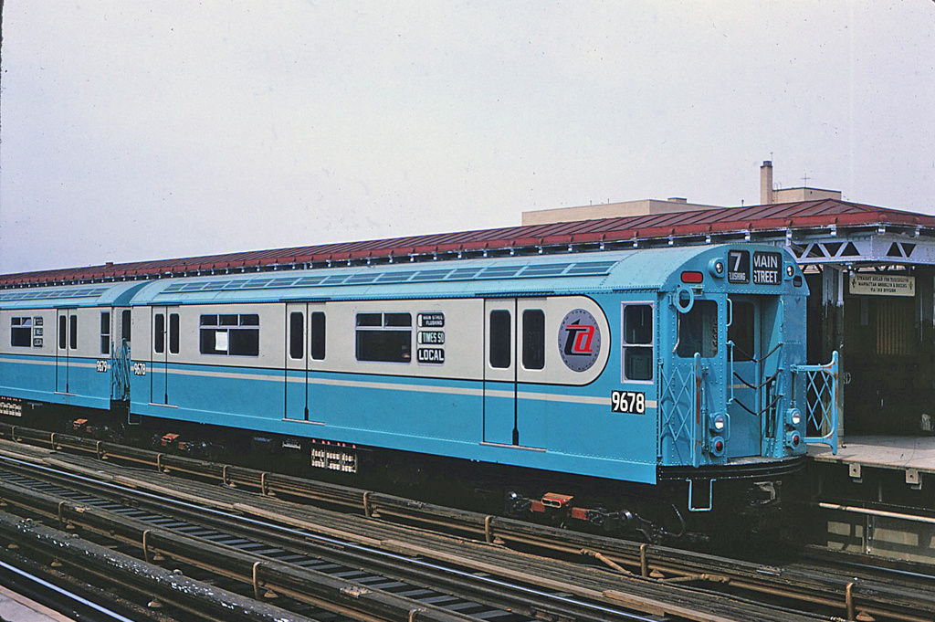 (400k, 1024x681)<br><b>Country:</b> United States<br><b>City:</b> New York<br><b>System:</b> New York City Transit<br><b>Line:</b> IRT Flushing Line<br><b>Location:</b> 74th Street/Broadway <br><b>Route:</b> 7<br><b>Car:</b> R-36 World's Fair (St. Louis, 1963-64) 9678 <br><b>Photo by:</b> George Basch<br><b>Collection of:</b> Stephen DeLuca<br><b>Date:</b> 4/12/1964<br><b>Viewed (this week/total):</b> 1 / 2282
