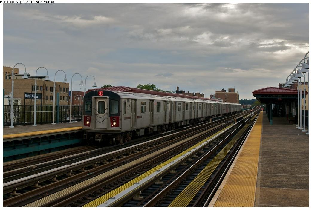 (253k, 1044x703)<br><b>Country:</b> United States<br><b>City:</b> New York<br><b>System:</b> New York City Transit<br><b>Line:</b> IRT White Plains Road Line<br><b>Location:</b> Burke Avenue <br><b>Route:</b> 2<br><b>Car:</b> R-142 (Primary Order, Bombardier, 1999-2002)  6596 <br><b>Photo by:</b> Richard Panse<br><b>Date:</b> 10/1/2011<br><b>Viewed (this week/total):</b> 0 / 966
