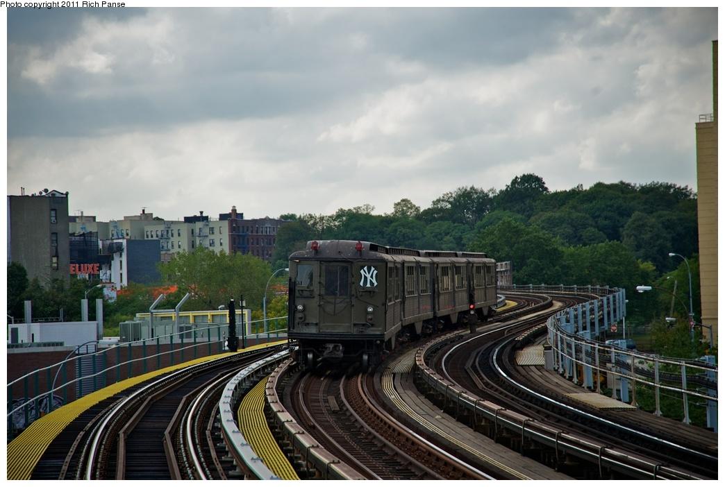(251k, 1044x702)<br><b>Country:</b> United States<br><b>City:</b> New York<br><b>System:</b> New York City Transit<br><b>Line:</b> IRT White Plains Road Line<br><b>Location:</b> West Farms Sq./East Tremont Ave./177th St. <br><b>Route:</b> Fan Trip<br><b>Car:</b> Low-V (Museum Train) 5443 <br><b>Photo by:</b> Richard Panse<br><b>Date:</b> 10/1/2011<br><b>Notes:</b> Yankees Special<br><b>Viewed (this week/total):</b> 0 / 1027