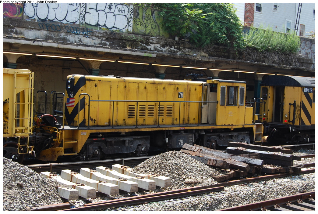 (467k, 1044x701)<br><b>Country:</b> United States<br><b>City:</b> New York<br><b>System:</b> New York City Transit<br><b>Line:</b> BMT Sea Beach Line<br><b>Location:</b> 20th Avenue <br><b>Route:</b> Work Service<br><b>Car:</b> R-52 Locomotive  78 <br><b>Photo by:</b> John Dooley<br><b>Date:</b> 7/2/2011<br><b>Viewed (this week/total):</b> 0 / 688