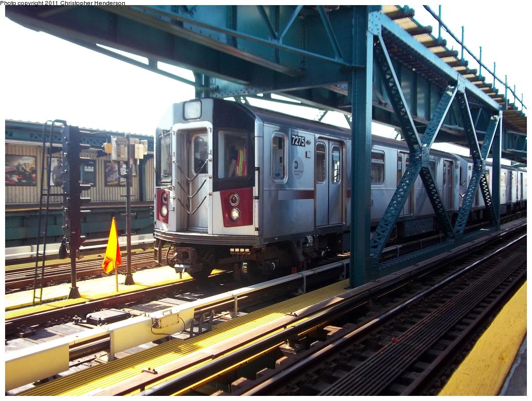 (355k, 1044x788)<br><b>Country:</b> United States<br><b>City:</b> New York<br><b>System:</b> New York City Transit<br><b>Line:</b> IRT Flushing Line<br><b>Location:</b> 111th Street <br><b>Route:</b> Testing<br><b>Car:</b> R-188 (R-142A Conversion, Kawasaki, 1999-2002) 7275 <br><b>Photo by:</b> Christopher Henderson<br><b>Date:</b> 9/30/2011<br><b>Viewed (this week/total):</b> 4 / 2204