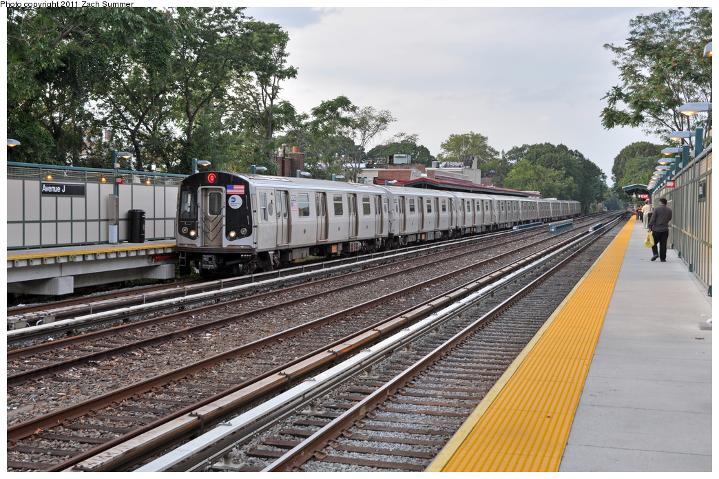 (464k, 1044x696)<br><b>Country:</b> United States<br><b>City:</b> New York<br><b>System:</b> New York City Transit<br><b>Line:</b> BMT Brighton Line<br><b>Location:</b> Avenue J <br><b>Route:</b> Q<br><b>Car:</b> R-160B (Kawasaki, 2005-2008)  8763 <br><b>Photo by:</b> Zach Summer<br><b>Date:</b> 9/30/2011<br><b>Viewed (this week/total):</b> 1 / 1103