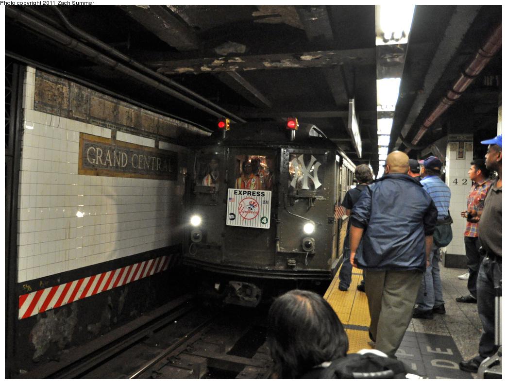 (383k, 1044x791)<br><b>Country:</b> United States<br><b>City:</b> New York<br><b>System:</b> New York City Transit<br><b>Line:</b> IRT East Side Line<br><b>Location:</b> Grand Central <br><b>Route:</b> Fan Trip<br><b>Car:</b> Low-V (Museum Train) 5292 <br><b>Photo by:</b> Zach Summer<br><b>Date:</b> 9/30/2011<br><b>Notes:</b> Yankee Special<br><b>Viewed (this week/total):</b> 1 / 1165