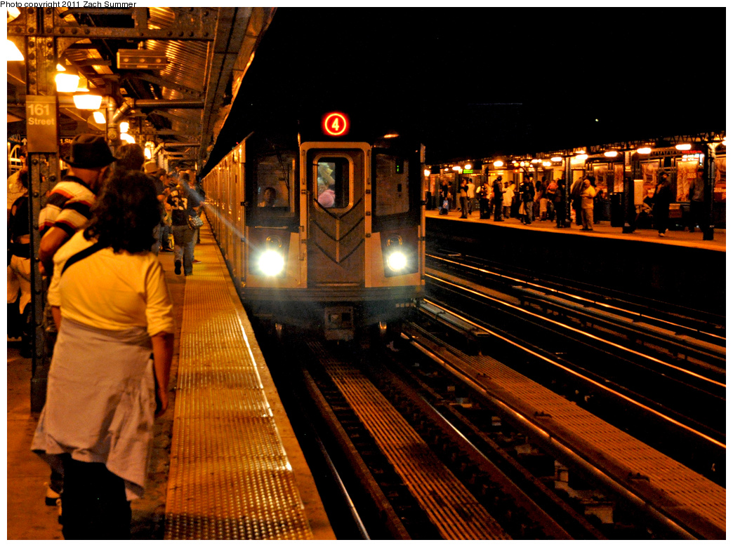 (464k, 1044x780)<br><b>Country:</b> United States<br><b>City:</b> New York<br><b>System:</b> New York City Transit<br><b>Line:</b> IRT Woodlawn Line<br><b>Location:</b> 161st Street/River Avenue (Yankee Stadium) <br><b>Route:</b> 4<br><b>Car:</b> R-142 or R-142A (Number Unknown)  <br><b>Photo by:</b> Zach Summer<br><b>Date:</b> 9/30/2011<br><b>Viewed (this week/total):</b> 0 / 1174