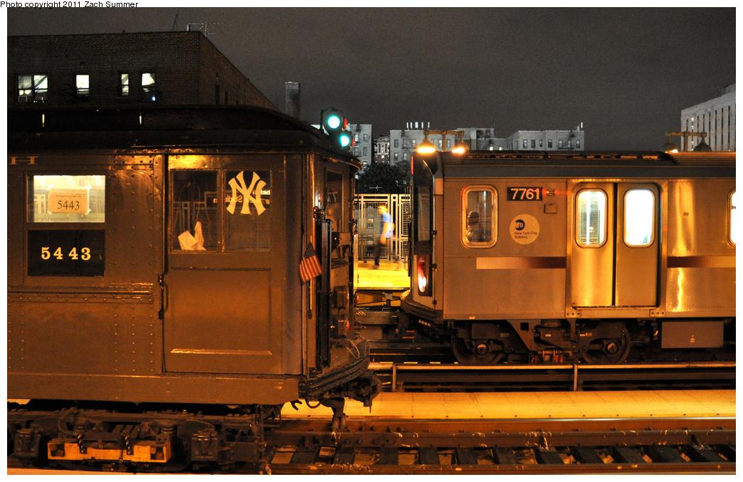 (390k, 1044x677)<br><b>Country:</b> United States<br><b>City:</b> New York<br><b>System:</b> New York City Transit<br><b>Line:</b> IRT Woodlawn Line<br><b>Location:</b> 161st Street/River Avenue (Yankee Stadium) <br><b>Route:</b> Fan Trip<br><b>Car:</b> Low-V (Museum Train) 5443 <br><b>Photo by:</b> Zach Summer<br><b>Date:</b> 9/30/2011<br><b>Notes:</b> Yankee Special. With R142A 7761<br><b>Viewed (this week/total):</b> 0 / 1240