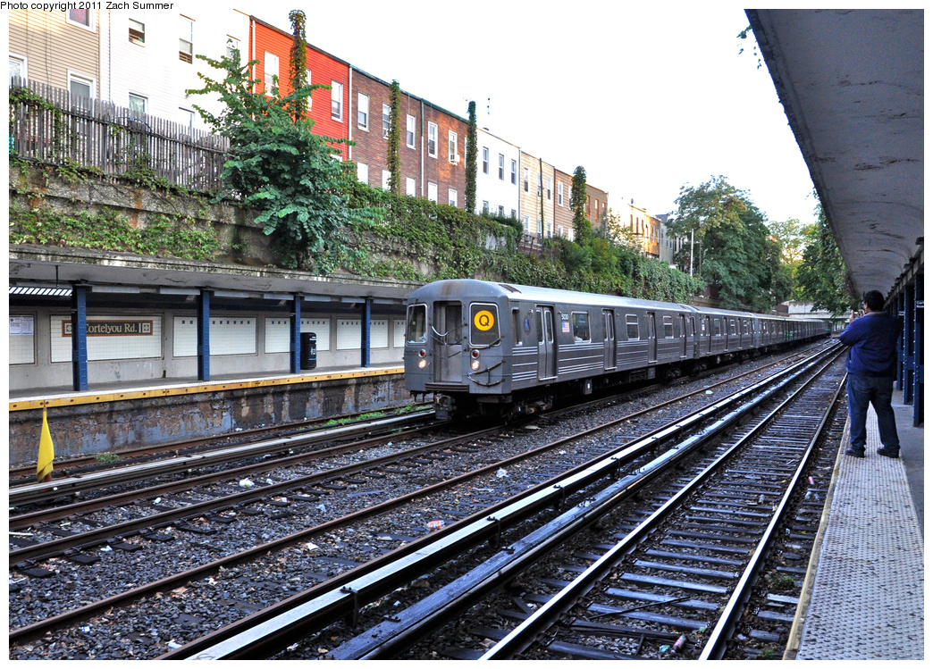 (565k, 1044x749)<br><b>Country:</b> United States<br><b>City:</b> New York<br><b>System:</b> New York City Transit<br><b>Line:</b> BMT Brighton Line<br><b>Location:</b> Cortelyou Road <br><b>Route:</b> Q<br><b>Car:</b> R-68A (Kawasaki, 1988-1989)  5030 <br><b>Photo by:</b> Zach Summer<br><b>Date:</b> 10/2/2011<br><b>Viewed (this week/total):</b> 1 / 1414
