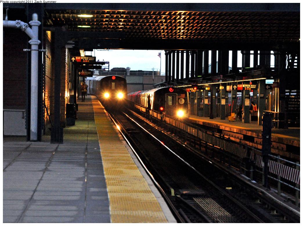 (471k, 1044x779)<br><b>Country:</b> United States<br><b>City:</b> New York<br><b>System:</b> New York City Transit<br><b>Location:</b> Coney Island/Stillwell Avenue<br><b>Route:</b> Q<br><b>Car:</b> R-160B (Option 1) (Kawasaki, 2008-2009)  9012 <br><b>Photo by:</b> Zach Summer<br><b>Date:</b> 10/2/2011<br><b>Notes:</b> With R160A 9413 on the F<br><b>Viewed (this week/total):</b> 0 / 1745