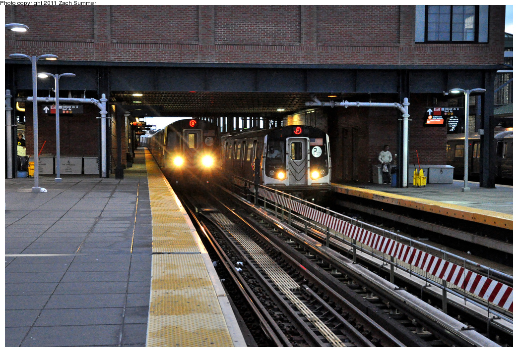 (466k, 1044x711)<br><b>Country:</b> United States<br><b>City:</b> New York<br><b>System:</b> New York City Transit<br><b>Location:</b> Coney Island/Stillwell Avenue<br><b>Route:</b> Q<br><b>Car:</b> R-160B (Option 1) (Kawasaki, 2008-2009)  9012 <br><b>Photo by:</b> Zach Summer<br><b>Date:</b> 10/2/2011<br><b>Notes:</b> With R160A 9413 on the F<br><b>Viewed (this week/total):</b> 1 / 1403
