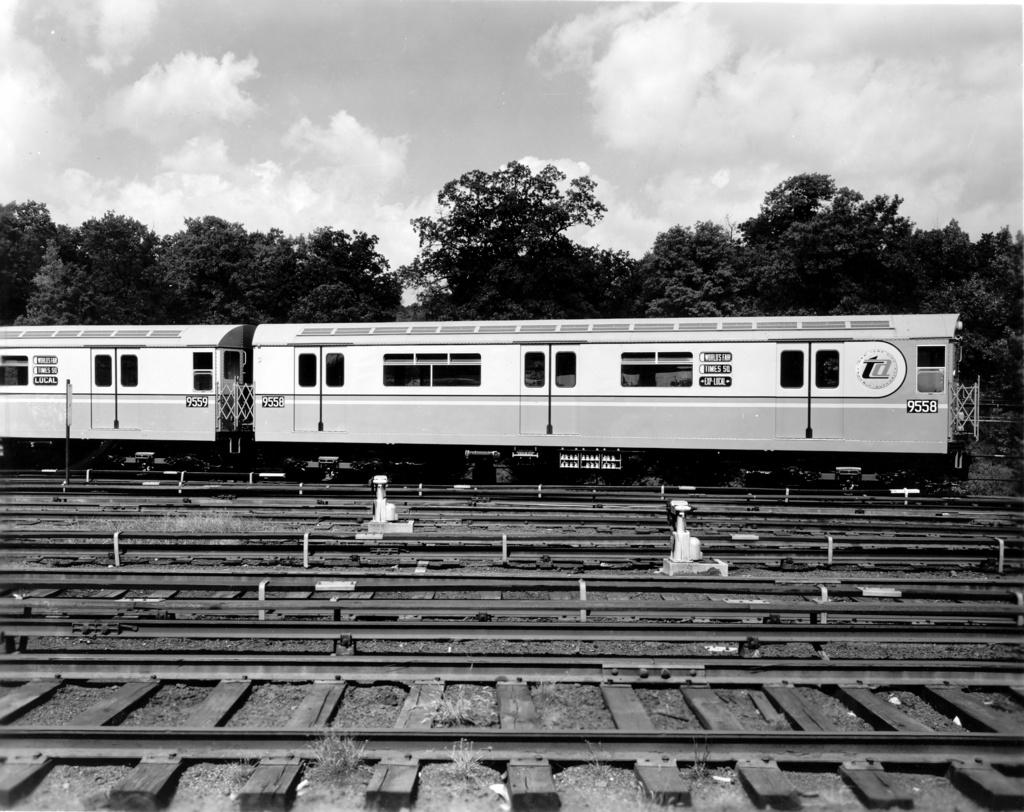 (297k, 1024x812)<br><b>Country:</b> United States<br><b>City:</b> New York<br><b>System:</b> New York City Transit<br><b>Location:</b> East 180th Street Yard<br><b>Car:</b> R-36 World's Fair (St. Louis, 1963-64) 9558 <br><b>Photo by:</b> Ed Watson/Arthur Lonto Collection<br><b>Collection of:</b> Frank Pfuhler<br><b>Date:</b> 9/10/1963<br><b>Viewed (this week/total):</b> 0 / 799