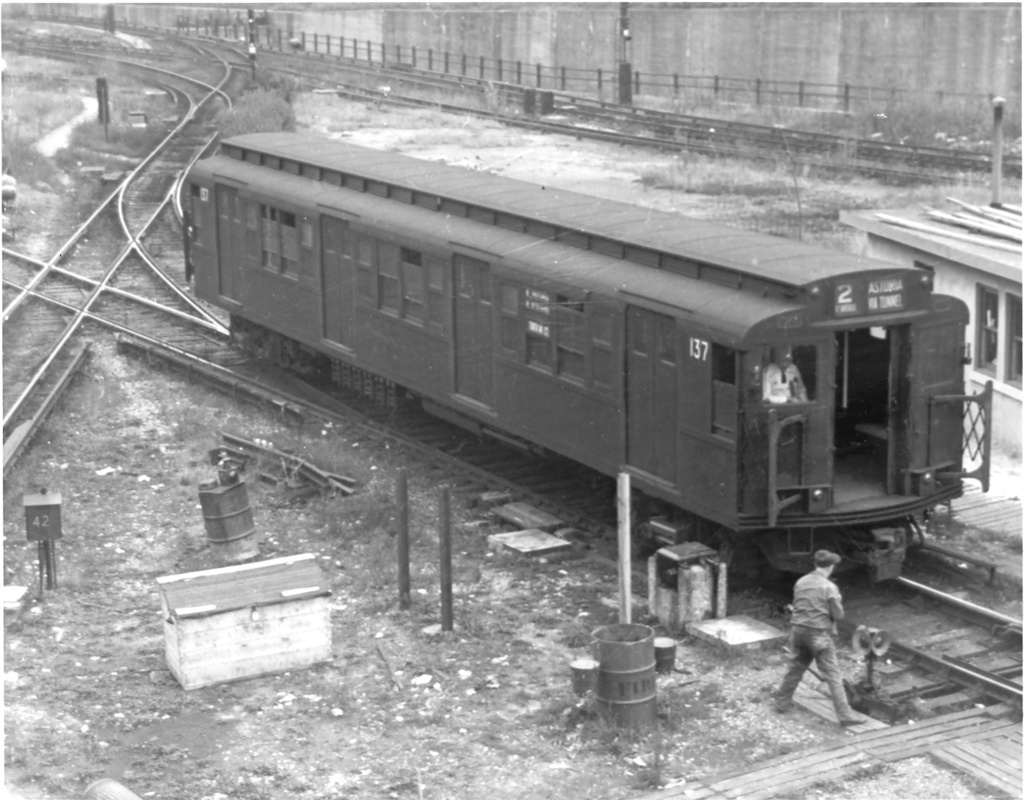 (243k, 1024x800)<br><b>Country:</b> United States<br><b>City:</b> New York<br><b>System:</b> New York City Transit<br><b>Location:</b> 36th Street Yard<br><b>Car:</b> R-1 (American Car & Foundry, 1930-1931) 137 <br><b>Photo by:</b> Ed Watson/Arthur Lonto Collection<br><b>Collection of:</b> Frank Pfuhler<br><b>Viewed (this week/total):</b> 1 / 1210