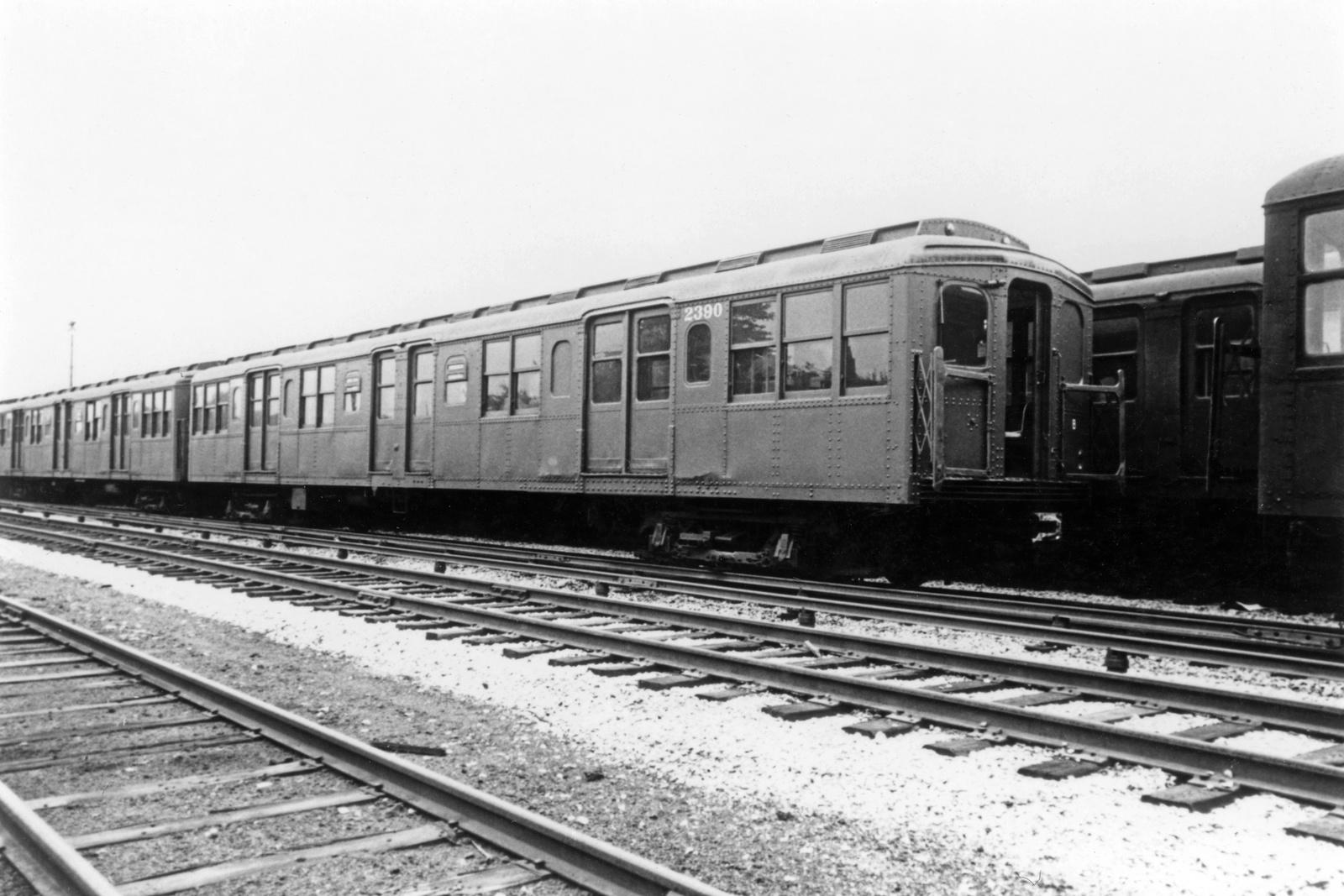 (269k, 1024x787)<br><b>Country:</b> United States<br><b>City:</b> New York<br><b>System:</b> New York City Transit<br><b>Location:</b> Fresh Pond Yard<br><b>Car:</b> BMT A/B-Type Standard 2390 <br><b>Photo by:</b> Ed Watson/Arthur Lonto Collection<br><b>Collection of:</b> Frank Pfuhler<br><b>Date:</b> 9/16/1965<br><b>Viewed (this week/total):</b> 3 / 869