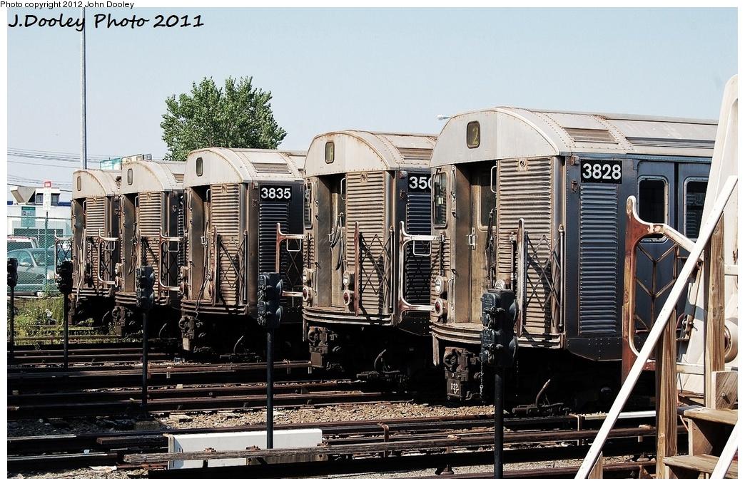 (382k, 1044x682)<br><b>Country:</b> United States<br><b>City:</b> New York<br><b>System:</b> New York City Transit<br><b>Location:</b> Rockaway Park Yard<br><b>Car:</b> R-32 (Budd, 1964)  3835/35xx/3828... <br><b>Photo by:</b> John Dooley<br><b>Date:</b> 8/20/2011<br><b>Viewed (this week/total):</b> 3 / 1091