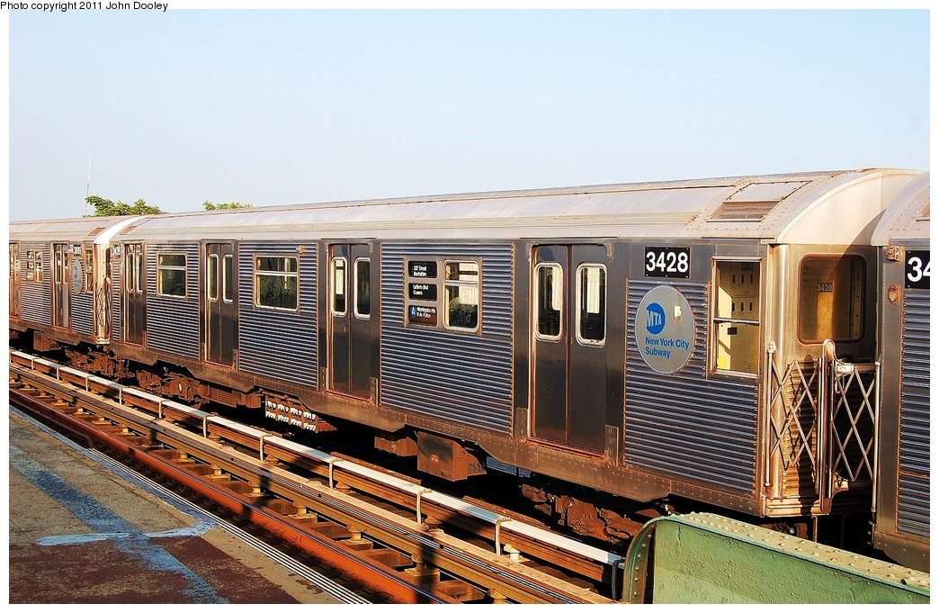 (390k, 1044x681)<br><b>Country:</b> United States<br><b>City:</b> New York<br><b>System:</b> New York City Transit<br><b>Line:</b> IND Fulton Street Line<br><b>Location:</b> 104th Street/Oxford Ave. <br><b>Route:</b> Layup<br><b>Car:</b> R-32 (Budd, 1964)  3428 <br><b>Photo by:</b> John Dooley<br><b>Date:</b> 8/20/2011<br><b>Viewed (this week/total):</b> 0 / 861