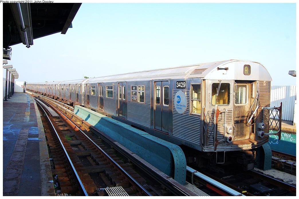 (350k, 1044x698)<br><b>Country:</b> United States<br><b>City:</b> New York<br><b>System:</b> New York City Transit<br><b>Line:</b> IND Fulton Street Line<br><b>Location:</b> 104th Street/Oxford Ave. <br><b>Route:</b> Layup<br><b>Car:</b> R-32 (Budd, 1964)  3429 <br><b>Photo by:</b> John Dooley<br><b>Date:</b> 8/20/2011<br><b>Viewed (this week/total):</b> 0 / 905