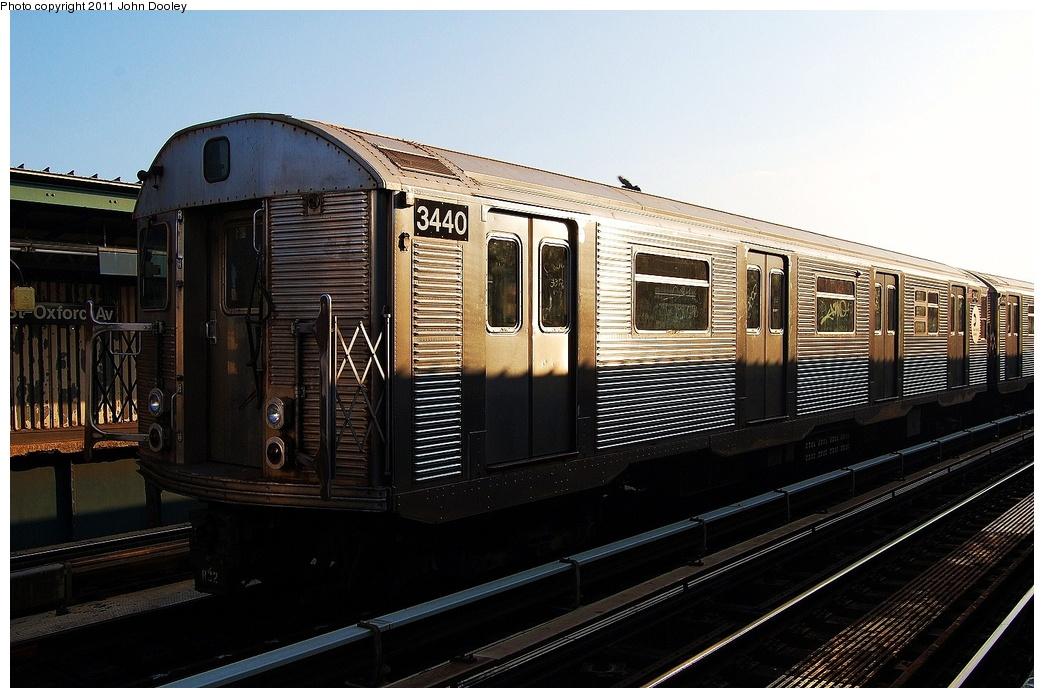 (311k, 1044x698)<br><b>Country:</b> United States<br><b>City:</b> New York<br><b>System:</b> New York City Transit<br><b>Line:</b> IND Fulton Street Line<br><b>Location:</b> 104th Street/Oxford Ave. <br><b>Route:</b> Layup<br><b>Car:</b> R-32 (Budd, 1964)  3440 <br><b>Photo by:</b> John Dooley<br><b>Date:</b> 8/20/2011<br><b>Viewed (this week/total):</b> 1 / 764