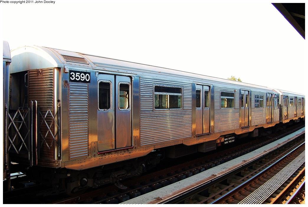 (319k, 1044x701)<br><b>Country:</b> United States<br><b>City:</b> New York<br><b>System:</b> New York City Transit<br><b>Line:</b> IND Fulton Street Line<br><b>Location:</b> 104th Street/Oxford Ave. <br><b>Route:</b> Layup<br><b>Car:</b> R-32 (Budd, 1964)  3590 <br><b>Photo by:</b> John Dooley<br><b>Date:</b> 8/20/2011<br><b>Viewed (this week/total):</b> 0 / 658
