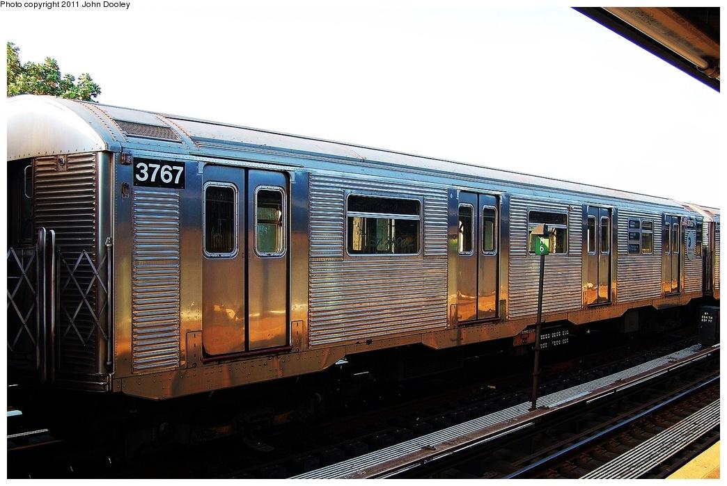 (319k, 1044x699)<br><b>Country:</b> United States<br><b>City:</b> New York<br><b>System:</b> New York City Transit<br><b>Line:</b> IND Fulton Street Line<br><b>Location:</b> 104th Street/Oxford Ave. <br><b>Route:</b> Layup<br><b>Car:</b> R-32 (Budd, 1964)  3767 <br><b>Photo by:</b> John Dooley<br><b>Date:</b> 8/20/2011<br><b>Viewed (this week/total):</b> 0 / 596