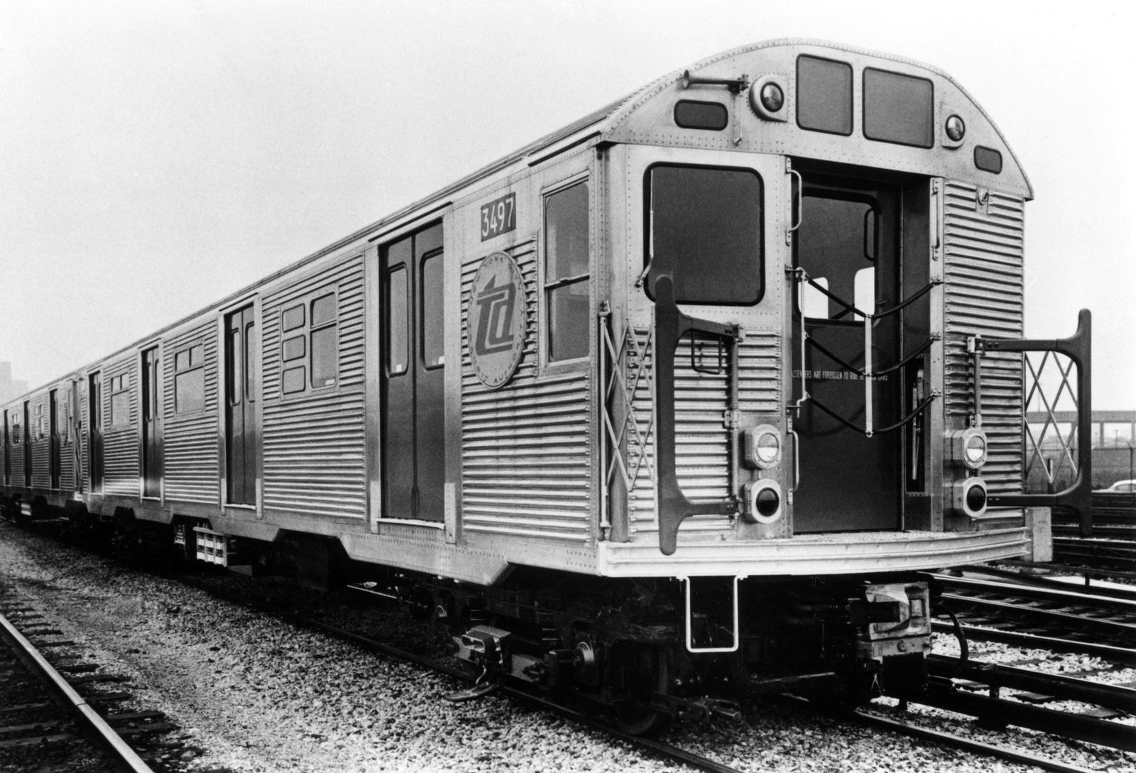 (266k, 1024x792)<br><b>Country:</b> United States<br><b>City:</b> New York<br><b>System:</b> New York City Transit<br><b>Location:</b> Coney Island Yard<br><b>Car:</b> R-32 (Budd, 1964)  3497 <br><b>Photo by:</b> Ed Watson/Arthur Lonto Collection<br><b>Collection of:</b> Frank Pfuhler<br><b>Date:</b> 1965<br><b>Viewed (this week/total):</b> 2 / 1015
