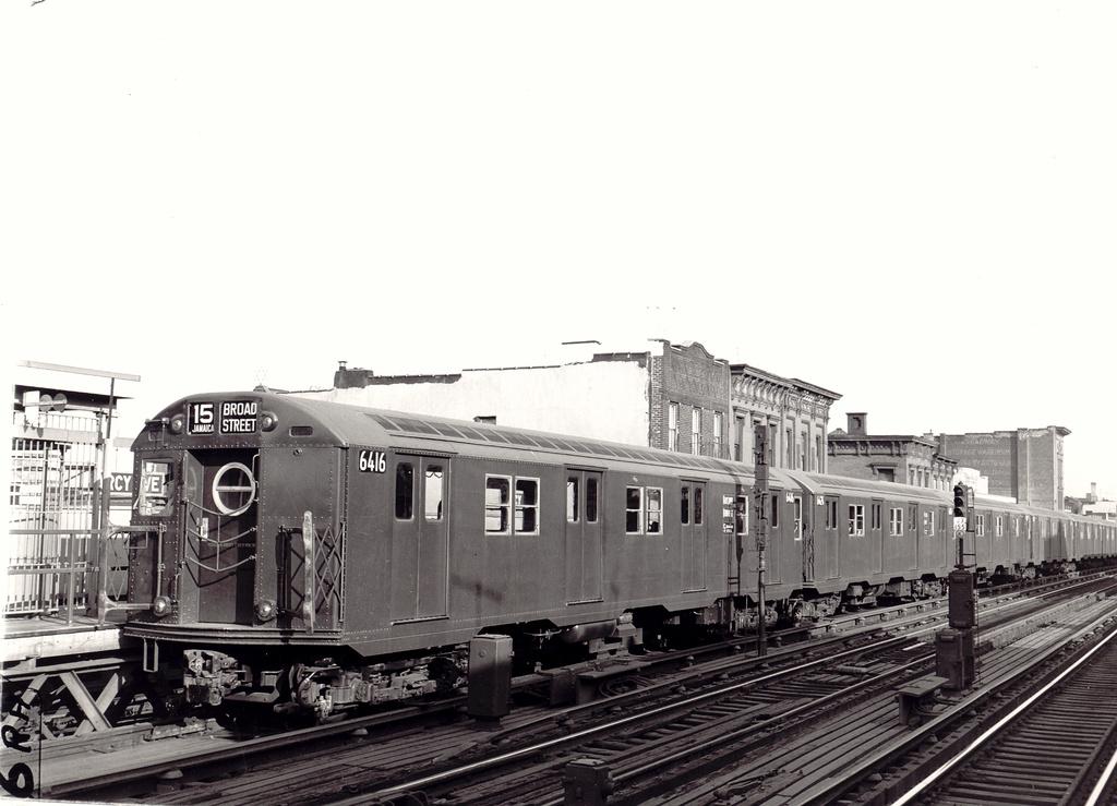 (245k, 1024x739)<br><b>Country:</b> United States<br><b>City:</b> New York<br><b>System:</b> New York City Transit<br><b>Line:</b> BMT Nassau Street/Jamaica Line<br><b>Location:</b> Marcy Avenue <br><b>Route:</b> BMT 15<br><b>Car:</b> R-16 (American Car & Foundry, 1955) 6416 <br><b>Photo by:</b> Ed Watson/Arthur Lonto Collection<br><b>Collection of:</b> Frank Pfuhler<br><b>Date:</b> 1955<br><b>Viewed (this week/total):</b> 0 / 1371