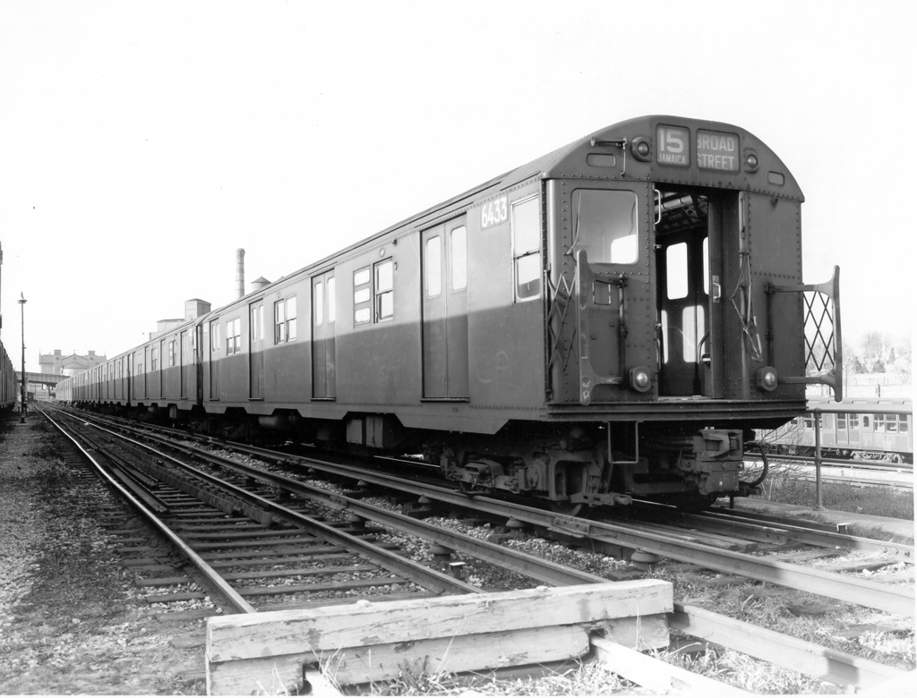 (229k, 1024x780)<br><b>Country:</b> United States<br><b>City:</b> New York<br><b>System:</b> New York City Transit<br><b>Location:</b> East New York Yard/Shops<br><b>Car:</b> R-16 (American Car & Foundry, 1955) 6433 <br><b>Photo by:</b> Ed Watson/Arthur Lonto Collection<br><b>Collection of:</b> Frank Pfuhler<br><b>Date:</b> 1/1957<br><b>Viewed (this week/total):</b> 1 / 1364