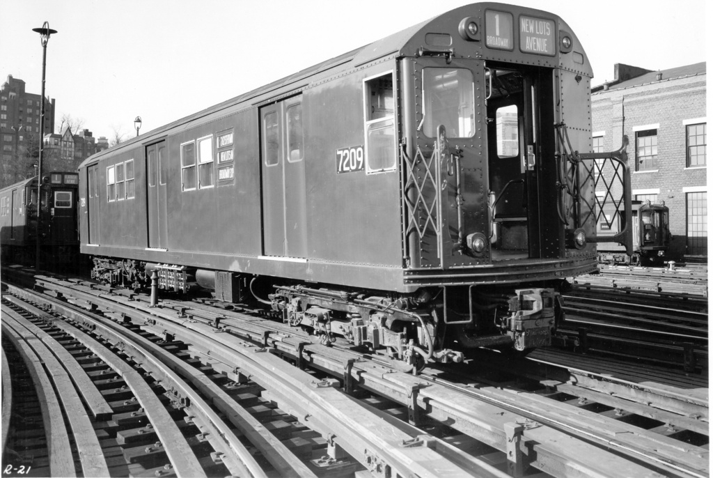 (252k, 1024x686)<br><b>Country:</b> United States<br><b>City:</b> New York<br><b>System:</b> New York City Transit<br><b>Location:</b> 240th Street Yard<br><b>Car:</b> R-21 (St. Louis, 1956-57) 7209 <br><b>Photo by:</b> Ed Watson/Arthur Lonto Collection<br><b>Collection of:</b> Frank Pfuhler<br><b>Viewed (this week/total):</b> 9 / 1265