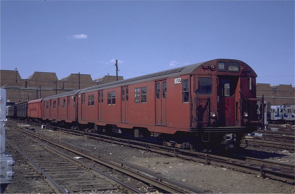 (203k, 1024x675)<br><b>Country:</b> United States<br><b>City:</b> New York<br><b>System:</b> New York City Transit<br><b>Location:</b> Coney Island Yard<br><b>Car:</b> R-27 (St. Louis, 1960)  8022 <br><b>Photo by:</b> Steve Zabel<br><b>Collection of:</b> Joe Testagrose<br><b>Date:</b> 4/23/1971<br><b>Viewed (this week/total):</b> 0 / 1111