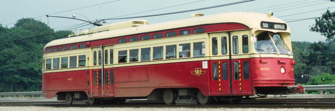(63k, 1100x365)<br><b>Country:</b> Canada<br><b>City:</b> Toronto<br><b>System:</b> TTC<br><b>Line:</b> TTC 501-Queen<br><b>Location:</b> The Queensway/Colborne Lodge <br><b>Car:</b> PCC (TTC Toronto) 4420 <br><b>Photo by:</b> Robert Callahan<br><b>Date:</b> 8/10/1981<br><b>Notes:</b> Passing High Park.  <br><b>Viewed (this week/total):</b> 1 / 425