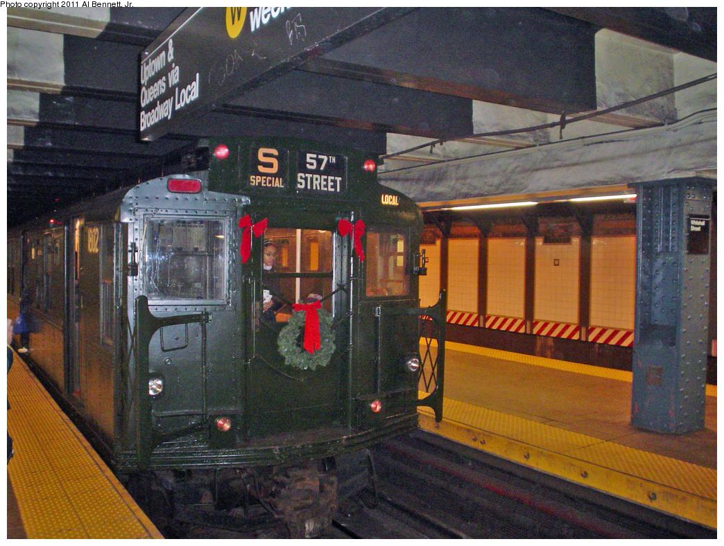 (566k, 1044x788)<br><b>Country:</b> United States<br><b>City:</b> New York<br><b>System:</b> New York City Transit<br><b>Line:</b> BMT Broadway Line<br><b>Location:</b> Whitehall Street <br><b>Route:</b> Fan Trip<br><b>Car:</b> R-9 (Pressed Steel, 1940)  1802 <br><b>Photo by:</b> Al Bennett, Jr.<br><b>Date:</b> 12/18/2004<br><b>Viewed (this week/total):</b> 3 / 987
