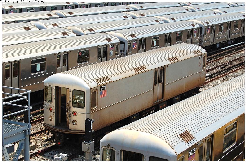 (420k, 1044x692)<br><b>Country:</b> United States<br><b>City:</b> New York<br><b>System:</b> New York City Transit<br><b>Location:</b> Corona Yard<br><b>Car:</b> R-127/R-134 (Kawasaki, 1991-1996) EP011 <br><b>Photo by:</b> John Dooley<br><b>Date:</b> 6/27/2011<br><b>Viewed (this week/total):</b> 0 / 842