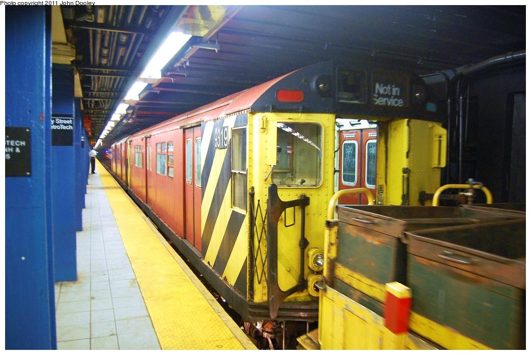 (328k, 1044x698)<br><b>Country:</b> United States<br><b>City:</b> New York<br><b>System:</b> New York City Transit<br><b>Line:</b> IND 8th Avenue Line<br><b>Location:</b> Jay St./Metrotech (Borough Hall) <br><b>Route:</b> Work Service<br><b>Car:</b> R-33 World's Fair (St. Louis, 1963-64) 9319 <br><b>Photo by:</b> John Dooley<br><b>Date:</b> 7/23/2011<br><b>Viewed (this week/total):</b> 0 / 1028