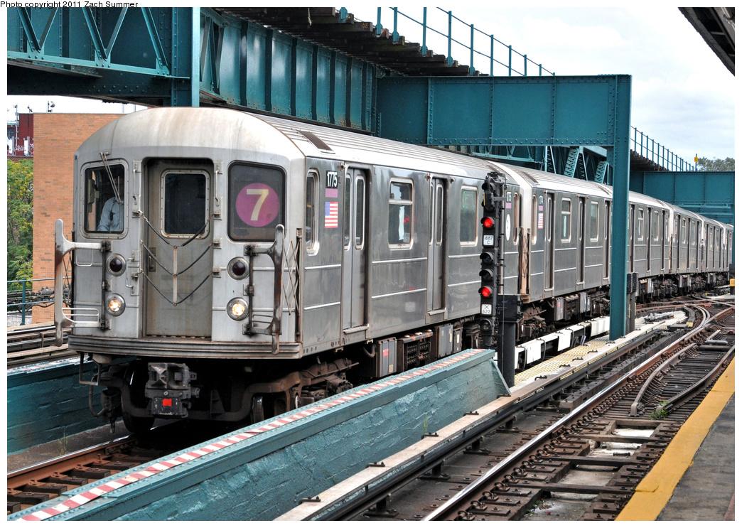 (458k, 1044x743)<br><b>Country:</b> United States<br><b>City:</b> New York<br><b>System:</b> New York City Transit<br><b>Line:</b> IRT Flushing Line<br><b>Location:</b> 111th Street <br><b>Route:</b> 7 Yard Move<br><b>Car:</b> R-62A (Bombardier, 1984-1987)  1775 <br><b>Photo by:</b> Zach Summer<br><b>Date:</b> 10/12/2011<br><b>Viewed (this week/total):</b> 2 / 952