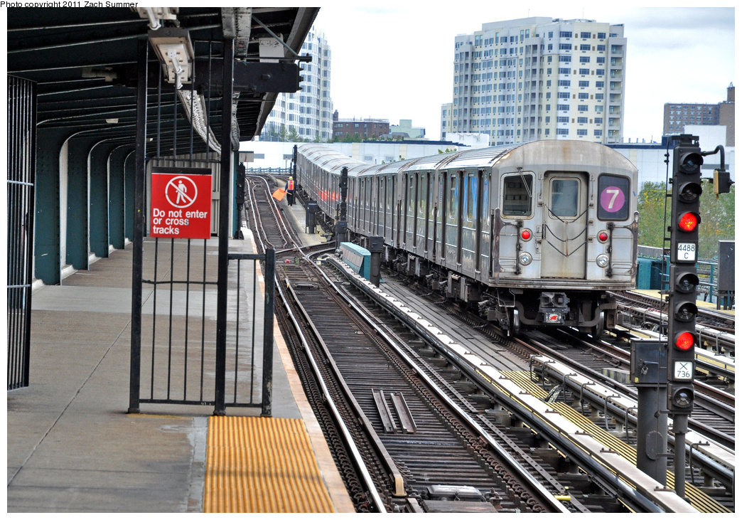 (464k, 1044x731)<br><b>Country:</b> United States<br><b>City:</b> New York<br><b>System:</b> New York City Transit<br><b>Line:</b> IRT Flushing Line<br><b>Location:</b> Willets Point/Mets (fmr. Shea Stadium) <br><b>Route:</b> 7<br><b>Car:</b> R-62A (Bombardier, 1984-1987)   <br><b>Photo by:</b> Zach Summer<br><b>Date:</b> 10/12/2011<br><b>Viewed (this week/total):</b> 3 / 1029