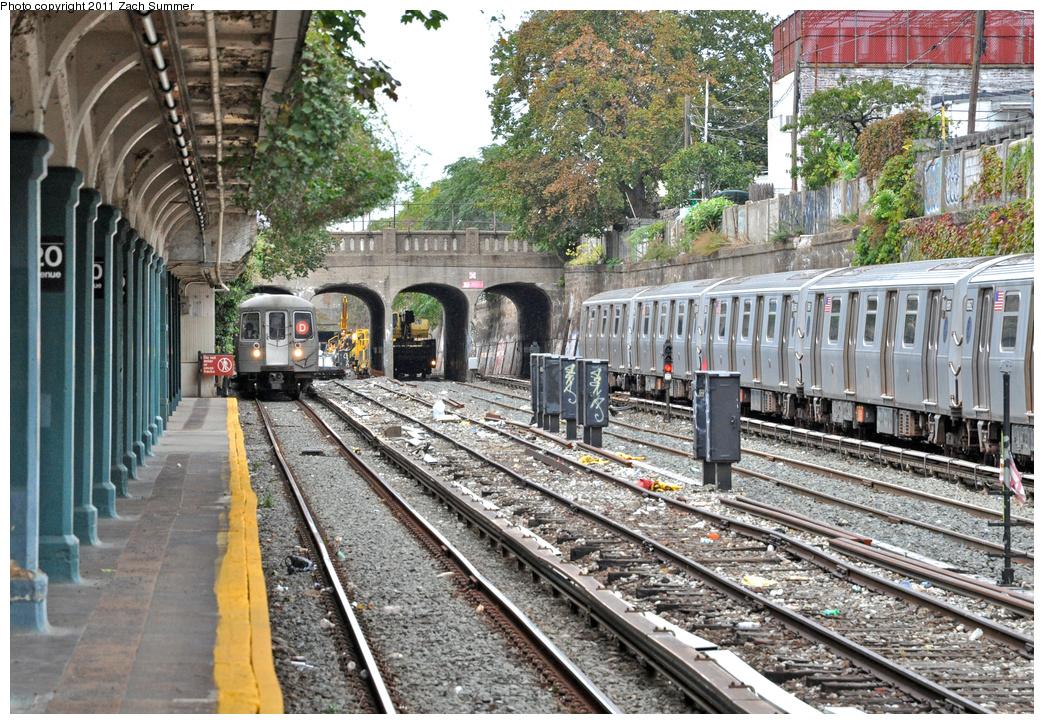 (543k, 1044x724)<br><b>Country:</b> United States<br><b>City:</b> New York<br><b>System:</b> New York City Transit<br><b>Line:</b> BMT Sea Beach Line<br><b>Location:</b> 20th Avenue <br><b>Route:</b> D Reroute<br><b>Car:</b> R-68 (Westinghouse-Amrail, 1986-1988)   <br><b>Photo by:</b> Zach Summer<br><b>Date:</b> 10/12/2011<br><b>Viewed (this week/total):</b> 1 / 996