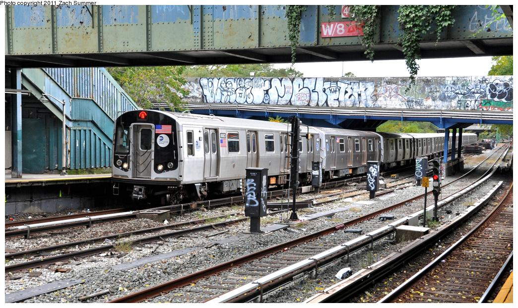 (483k, 1044x621)<br><b>Country:</b> United States<br><b>City:</b> New York<br><b>System:</b> New York City Transit<br><b>Line:</b> BMT Sea Beach Line<br><b>Location:</b> 8th Avenue <br><b>Route:</b> N<br><b>Car:</b> R-160B (Kawasaki, 2005-2008)  8883 <br><b>Photo by:</b> Zach Summer<br><b>Date:</b> 10/12/2011<br><b>Viewed (this week/total):</b> 0 / 1099