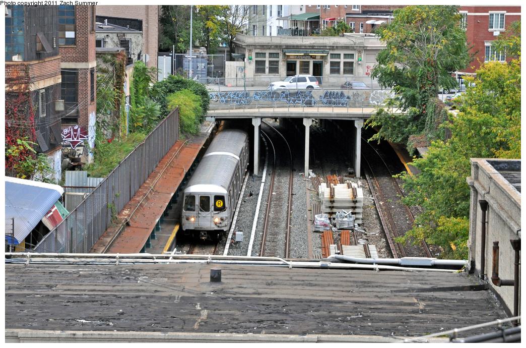 (507k, 1044x690)<br><b>Country:</b> United States<br><b>City:</b> New York<br><b>System:</b> New York City Transit<br><b>Line:</b> BMT Sea Beach Line<br><b>Location:</b> New Utrecht Avenue <br><b>Route:</b> R Put-In<br><b>Car:</b> R-46 (Pullman-Standard, 1974-75)  <br><b>Photo by:</b> Zach Summer<br><b>Date:</b> 10/12/2011<br><b>Viewed (this week/total):</b> 0 / 1752