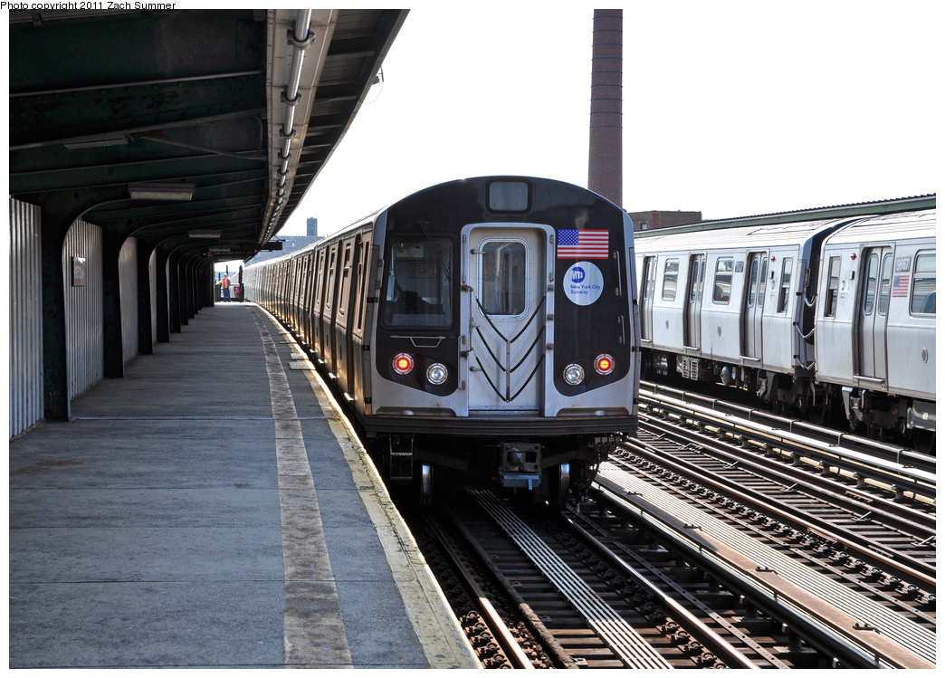 (388k, 1044x749)<br><b>Country:</b> United States<br><b>City:</b> New York<br><b>System:</b> New York City Transit<br><b>Line:</b> BMT Culver Line<br><b>Location:</b> Avenue X<br><b>Route:</b> F<br><b>Car:</b> R-160A (Option 1) (Alstom, 2008-2009, 5 car sets) 9537 <br><b>Photo by:</b> Zach Summer<br><b>Date:</b> 10/18/2011<br><b>Notes:</b> F Shuttle Wrong-Railing out of Avenue X back to Stillwell Av.<br><b>Viewed (this week/total):</b> 0 / 1280