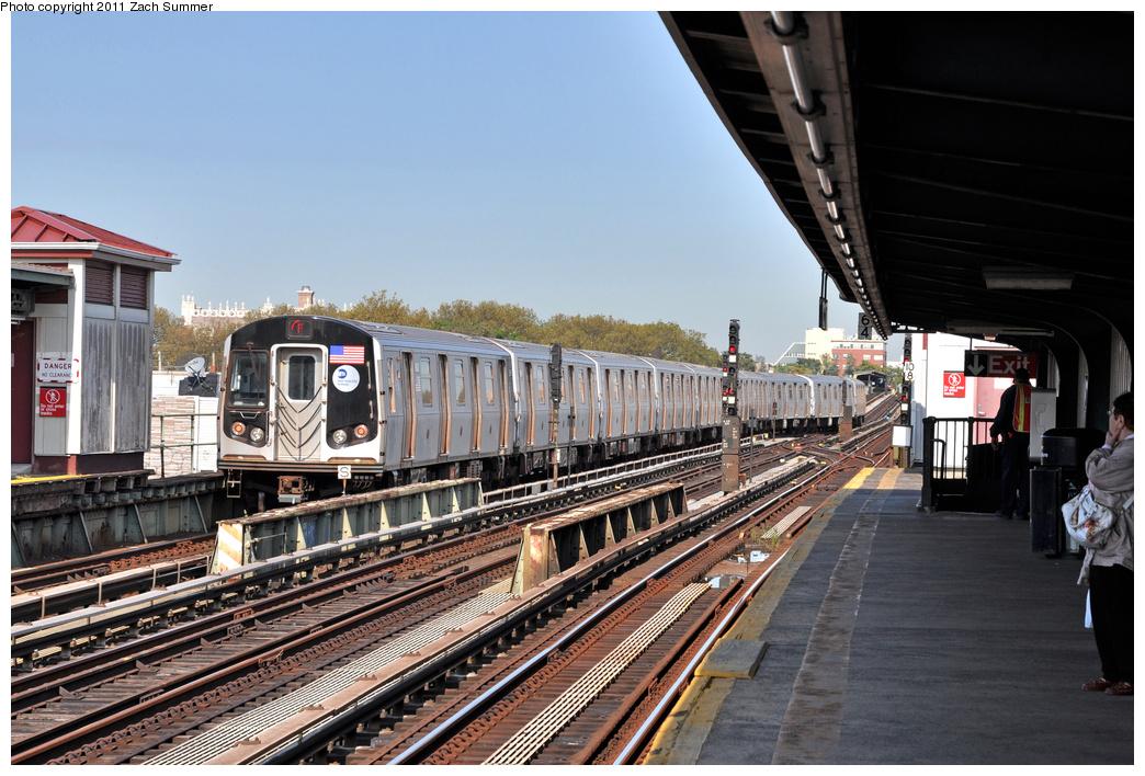 (394k, 1044x708)<br><b>Country:</b> United States<br><b>City:</b> New York<br><b>System:</b> New York City Transit<br><b>Line:</b> BMT Culver Line<br><b>Location:</b> Avenue X <br><b>Route:</b> F<br><b>Car:</b> R-160B (Option 2) (Kawasaki, 2009)  9803 <br><b>Photo by:</b> Zach Summer<br><b>Date:</b> 10/18/2011<br><b>Notes:</b> Manhattan-Bound F Wrong-Railing out of Avenue X<br><b>Viewed (this week/total):</b> 0 / 860