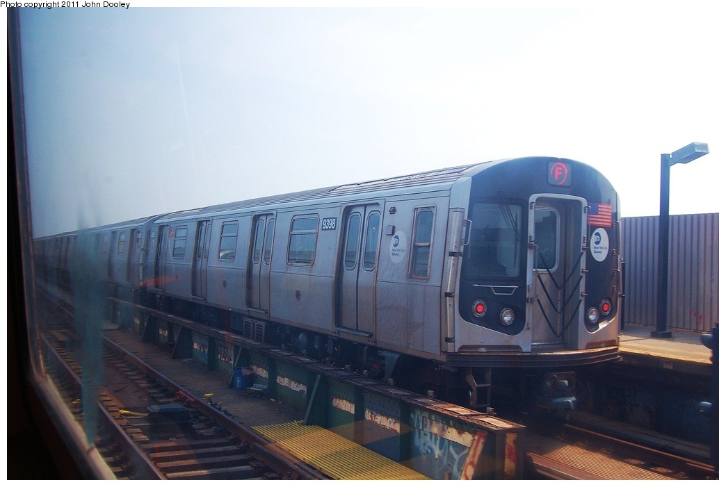 (240k, 1044x701)<br><b>Country:</b> United States<br><b>City:</b> New York<br><b>System:</b> New York City Transit<br><b>Line:</b> BMT Culver Line<br><b>Location:</b> Ditmas Avenue <br><b>Route:</b> F<br><b>Car:</b> R-160A (Option 1) (Alstom, 2008-2009, 5 car sets)  9398 <br><b>Photo by:</b> John Dooley<br><b>Date:</b> 7/20/2011<br><b>Viewed (this week/total):</b> 0 / 740