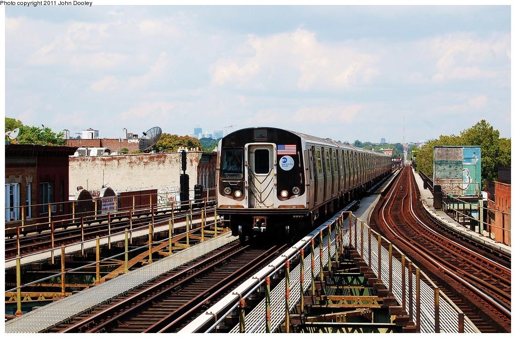 (393k, 1044x684)<br><b>Country:</b> United States<br><b>City:</b> New York<br><b>System:</b> New York City Transit<br><b>Line:</b> BMT Culver Line<br><b>Location:</b> 18th Avenue <br><b>Route:</b> F<br><b>Car:</b> R-160A (Option 1) (Alstom, 2008-2009, 5 car sets)  9577 <br><b>Photo by:</b> John Dooley<br><b>Date:</b> 8/10/2011<br><b>Viewed (this week/total):</b> 2 / 811