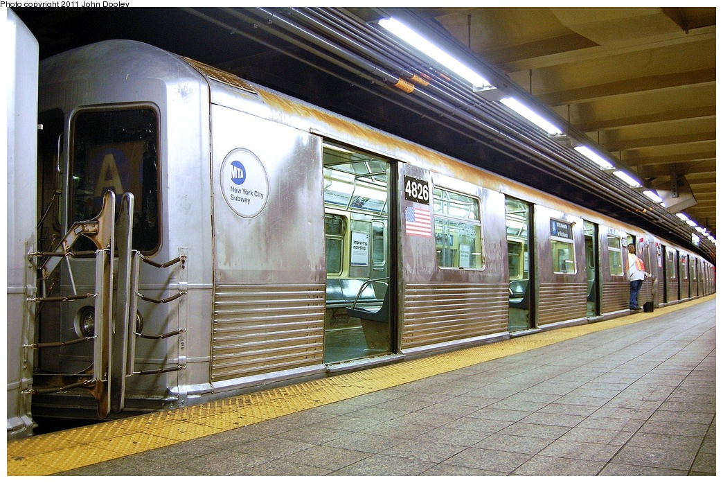(395k, 1044x697)<br><b>Country:</b> United States<br><b>City:</b> New York<br><b>System:</b> New York City Transit<br><b>Line:</b> IND 8th Avenue Line<br><b>Location:</b> 207th Street <br><b>Route:</b> A<br><b>Car:</b> R-42 (St. Louis, 1969-1970)  4826 <br><b>Photo by:</b> John Dooley<br><b>Date:</b> 8/15/2011<br><b>Viewed (this week/total):</b> 4 / 890