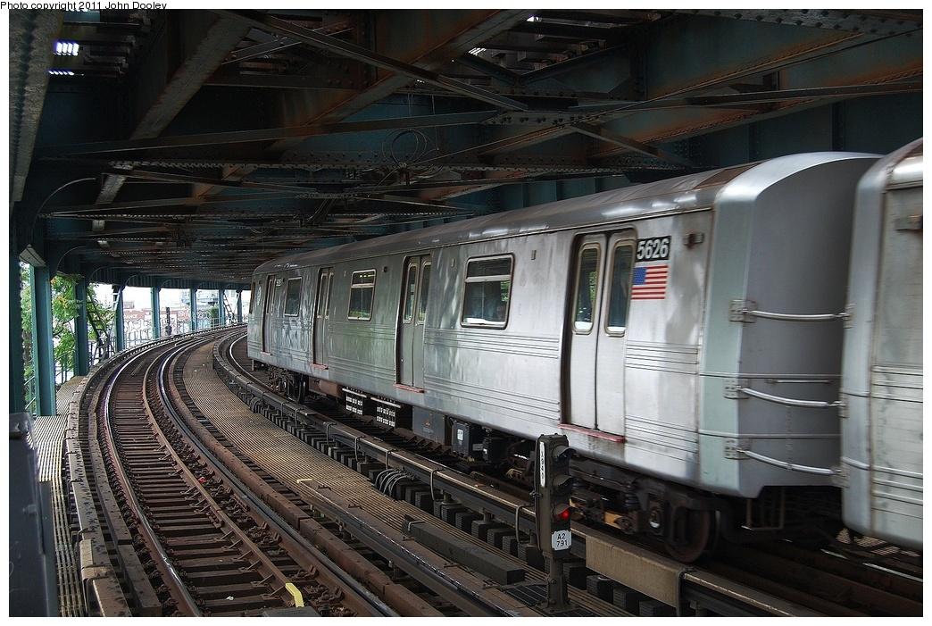 (363k, 1044x701)<br><b>Country:</b> United States<br><b>City:</b> New York<br><b>System:</b> New York City Transit<br><b>Line:</b> BMT Culver Line<br><b>Location:</b> West 8th Street <br><b>Route:</b> F<br><b>Car:</b> R-46 (Pullman-Standard, 1974-75) 5626 <br><b>Photo by:</b> John Dooley<br><b>Date:</b> 7/20/2011<br><b>Viewed (this week/total):</b> 2 / 836