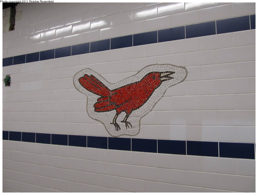 (193k, 1044x788)<br><b>Country:</b> United States<br><b>City:</b> New York<br><b>System:</b> New York City Transit<br><b>Line:</b> BMT Brighton Line<br><b>Location:</b> Avenue J <br><b>Photo by:</b> Robbie Rosenfeld<br><b>Date:</b> 10/30/2011<br><b>Artwork:</b> <i>Bird Laid Bare</i>, Rita MacDonald (2011).<br><b>Viewed (this week/total):</b> 0 / 1417