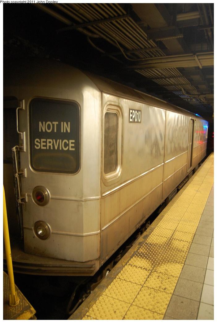 (259k, 701x1044)<br><b>Country:</b> United States<br><b>City:</b> New York<br><b>System:</b> New York City Transit<br><b>Line:</b> BMT 4th Avenue<br><b>Location:</b> Pacific Street <br><b>Route:</b> Work Service<br><b>Car:</b> R-127/R-134 (Kawasaki, 1991-1996) EP010 <br><b>Photo by:</b> John Dooley<br><b>Date:</b> 9/22/2011<br><b>Viewed (this week/total):</b> 2 / 882