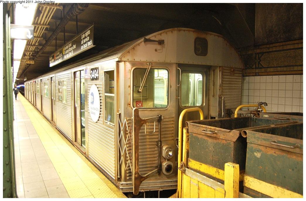 (360k, 1044x686)<br><b>Country:</b> United States<br><b>City:</b> New York<br><b>System:</b> New York City Transit<br><b>Line:</b> BMT 4th Avenue<br><b>Location:</b> Pacific Street <br><b>Route:</b> Work Service<br><b>Car:</b> R-32 (Budd, 1964)  3494 <br><b>Photo by:</b> John Dooley<br><b>Date:</b> 9/22/2011<br><b>Viewed (this week/total):</b> 1 / 991