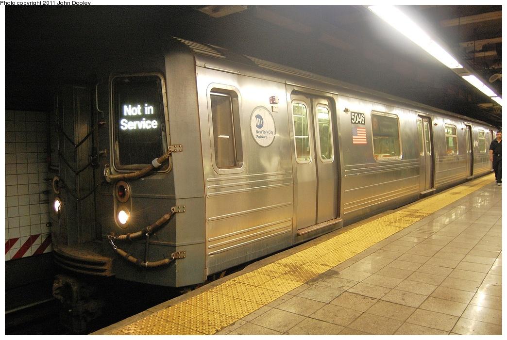 (358k, 1044x701)<br><b>Country:</b> United States<br><b>City:</b> New York<br><b>System:</b> New York City Transit<br><b>Line:</b> BMT 4th Avenue<br><b>Location:</b> Pacific Street <br><b>Car:</b> R-68A (Kawasaki, 1988-1989)  5046 <br><b>Photo by:</b> John Dooley<br><b>Date:</b> 9/23/2011<br><b>Notes:</b> Baseball special returning OOS to yard.<br><b>Viewed (this week/total):</b> 1 / 1369