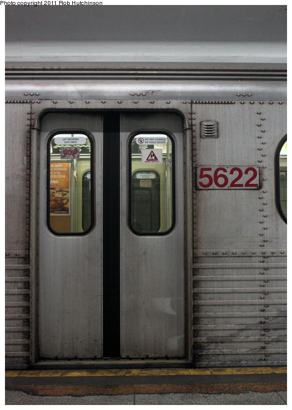 (199k, 586x821)<br><b>Country:</b> Canada<br><b>City:</b> Toronto<br><b>System:</b> TTC<br><b>Line:</b> TTC Bloor-Danforth Subway<br><b>Location:</b> Bay (Lower) <br><b>Car:</b> TTC H Series  5622 <br><b>Photo by:</b> Rob Hutchinson<br><b>Date:</b> 9/11/2011<br><b>Notes:</b> H4 retirement fantrip. Closeup of door.  <br><b>Viewed (this week/total):</b> 1 / 949